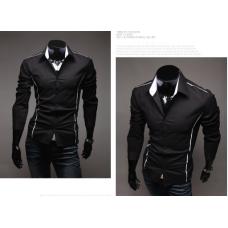 Мужская рубашка длинный рукав приталенная M, L, XL, XXL, XXXL черный код 6