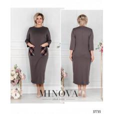 Женское платье прямого кроя батал -серый