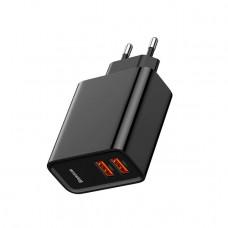 Зарядное Baseus Speed Dual QC3.0 USB+USB 30W EU black