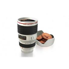 Чашка термос фотообъектив Caniam с подставкой белый