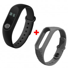 Фитнес-браслет трекер UWatch М2 Black + Mi Fit Flex Grey/White ремешок  (nri-802)