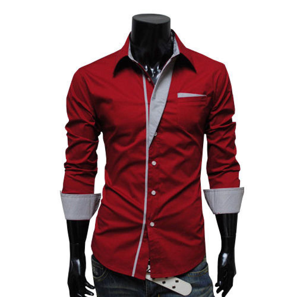 Сорочка чоловіча приталена M, L, XL, XXL ( червоний )