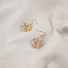 """Серьги Collection """"Сердце"""" цвет золото с кристалом в середине"""