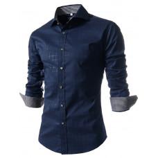 Рубашка длинный рукав тёмно- синяя Код 70