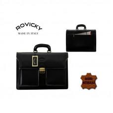 Портфель натуральная кожа производство Италия Rovicky черный