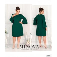 Женское нарядное платье батал -зеленый