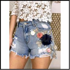 Шорты женские джинсовые с аппликацией котоновые Fleur 25-30  0963