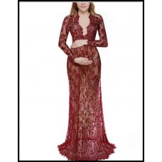 Длинное платье-пеньюар из кружева для фотосессии, на романтический вечер красный 303