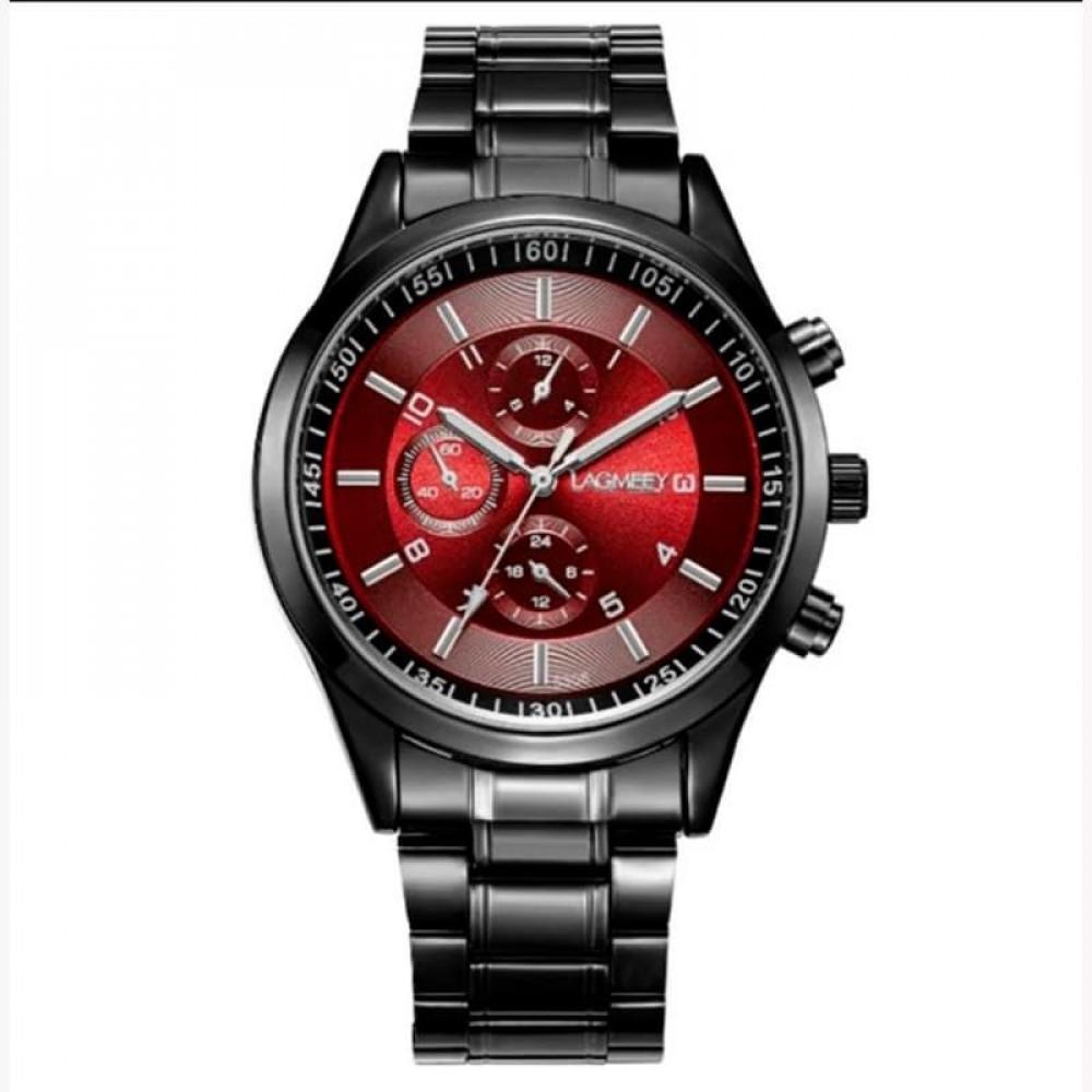 Часы мужские металлические кварцевые LAGMEEY Fort 5308 3 ATM красные