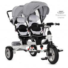 Велосипед детский трехколесный для двойни серый