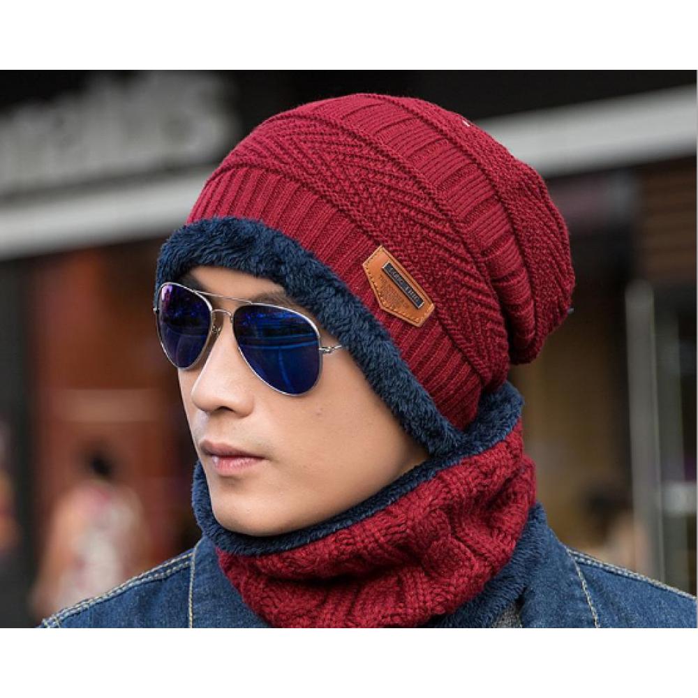 Шапка + шарф зимняя вязаная  красная код 90