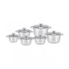 Набор посуды (кастрюль) из 6 предметов Unique UN-5035, кастрюли с крышками, нержавеющая сталь