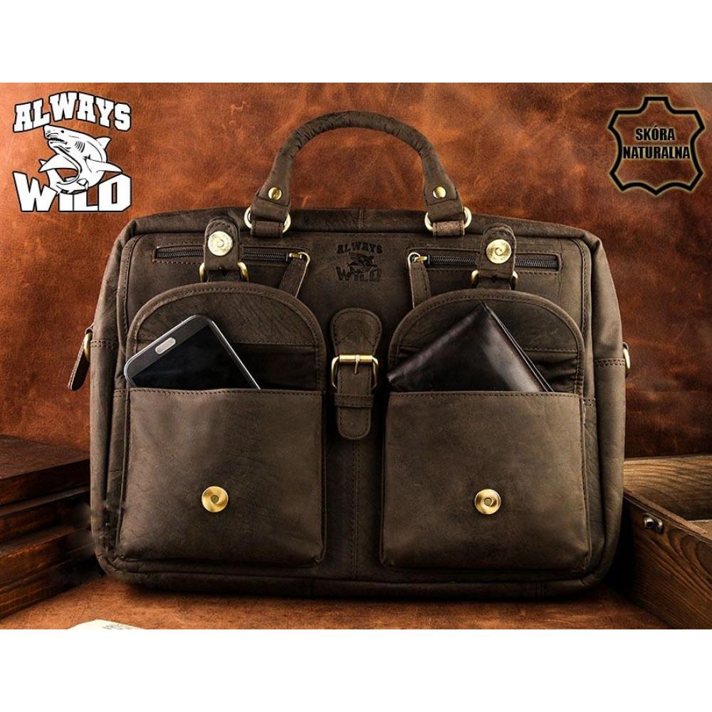 Кожаная мужская сумка бренд Always Wild brown