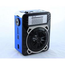 Радиоприемник, колонка Golon RX-9122  синяя со встроенным аккумулятором, фонариком, USB, радио