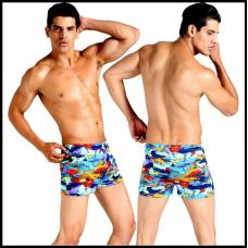 Плавки мужские купальные, трусы-боксеры для бассейна, пляжа (разноцвентый) код MS005