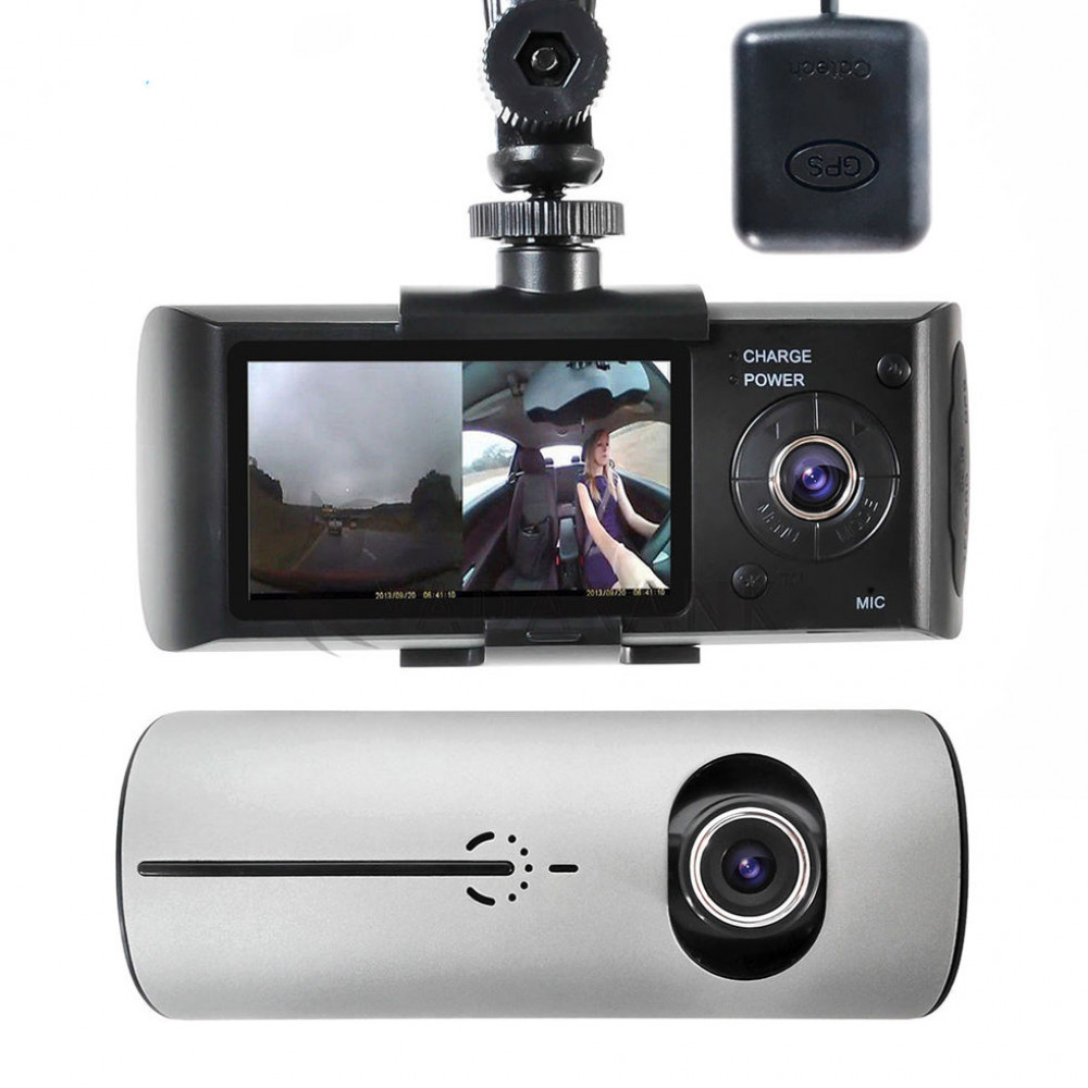 Видеорегистратор R300 с GPS НА 2 камеры + G сенсор Новинка!
