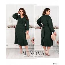 Женское  платье на запах  плюс сайз-зелёный
