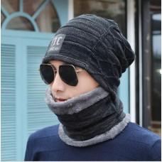Мужская зимняя вязаная шапка + шарф NC чёрная код 91