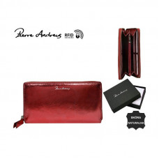 Кожаный кошелек Pierre Andres N511-METALLIC красный