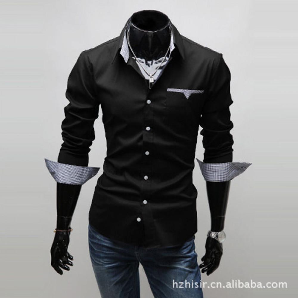 Мужская рубашка с длинным рукавом (черная) New 2021 код 46