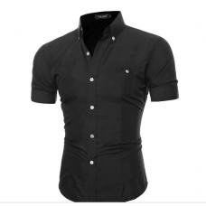 Рубашка мужская с коротким рукавом приталенная код 52 (черная)
