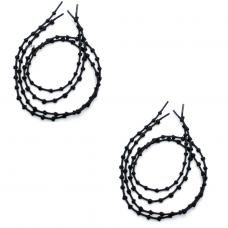 Шнурки для обуви с узелками эластичные 2Life две пары в комплекте Черный (n-512)