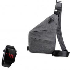 Сумка-мессенджер через плечо 2Life Crossbody Серый + Наручные электронные часы 2Life l2 (n-348)