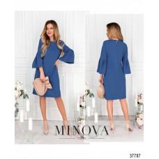 Женское повседневное платье рукава клеш -джинсовый