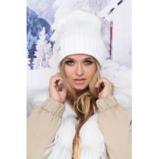 Шапка «Рейна» женская зимняя с отворотом на флисовом подкладе. Белый, бирюзовый, св. серый, св. кофе, черны