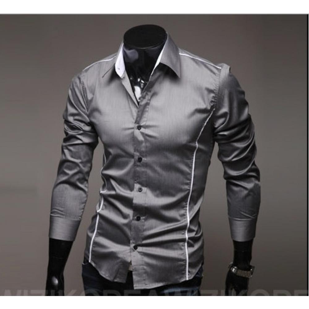 Мужская рубашка длинный рукав приталенная M, L, XL, XXL серая