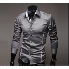 Мужская рубашка длинный рукав приталенная M, L, XL, XXL серая код 6