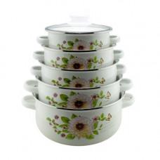 Набор  посуды ( эмалированные кастрюли) UNIQUE UN-2357, кастрюли с крышками, цвет-белый