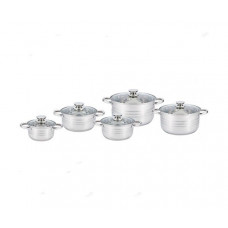Набор посуды (кастрюль) из 5 предметов Unique UN-5034, кастрюли с крышками , нержавеющая сталь