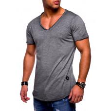 Мужская стильная футболка короткий рукав серая код 126