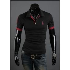 Мужская футболка с воротником M-XXL (черный) код 56