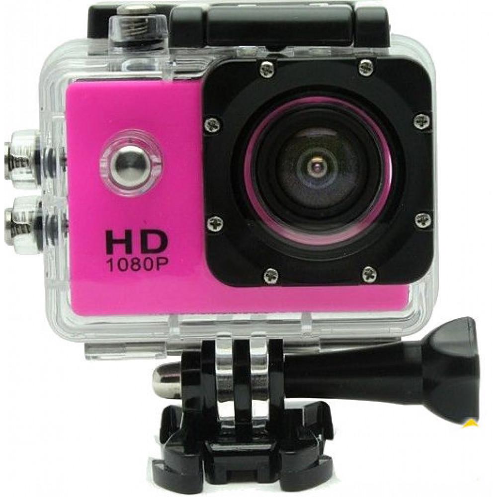 Экшен камера 4000 розовая Камера12 МР  Водонепроницаемый Бокс 30м
