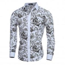 """Рубашка длинный рукав белая цветочный принт """"VSKA"""" M-XXL код 110"""
