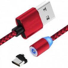 Кабель для зарядки магнитный LED Magnetic USB Type-C 1 m красный