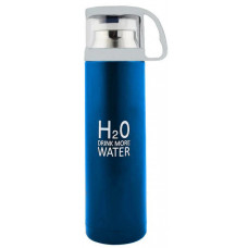 Термос стальной H2O 500мл с чашкой, голубой
