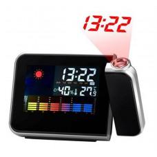 Часы-метеостанция с проектором времени, Настольные часы с будильником, термометром