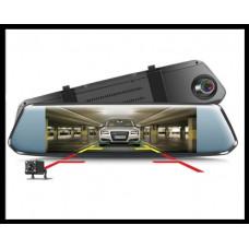 Видеорегистратор зеркало L1017. Две камеры, большой сенсорный IPS дисплей 7D!