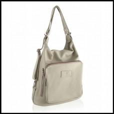 Женская сумка-рюкзак кожаная BETLEWSKI A4 Польша сливочный