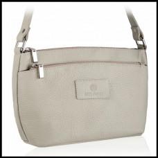 Кожаная женская сумка бренд BETLEWSKI Польша светло-серый