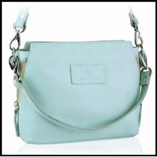 Кожаная женская сумка небольшая модная бренд BETLEWSKI Польша голубая