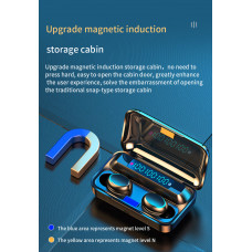 Наушники Bluetooth 5,0 F9 цифровой дисплей TWS сенсорная гарнитура черные
