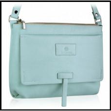 Кожаная женская сумка модная бренд BETLEWSKI Польша голубая