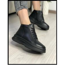 Ботинки удобные из натуральной кожи Код 315/карп цвет черный