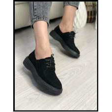 Туфли из натуральной замши Код 255 цвет черный Очень удобные