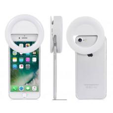Селфи кольцо для телефона SG11 с аккумулятором (белое)