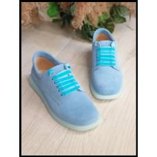 Туфли женские из натуральной замши Код 11101 голубые  размеры 36-40